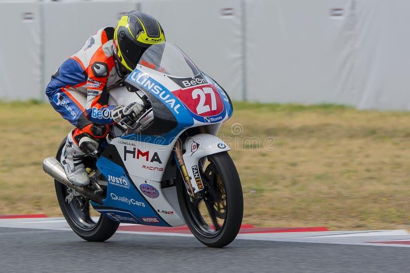 Οδηγός Alex Perez Μεσογειακά Motorcycling πρωταθλήματα στοκ εικόνα