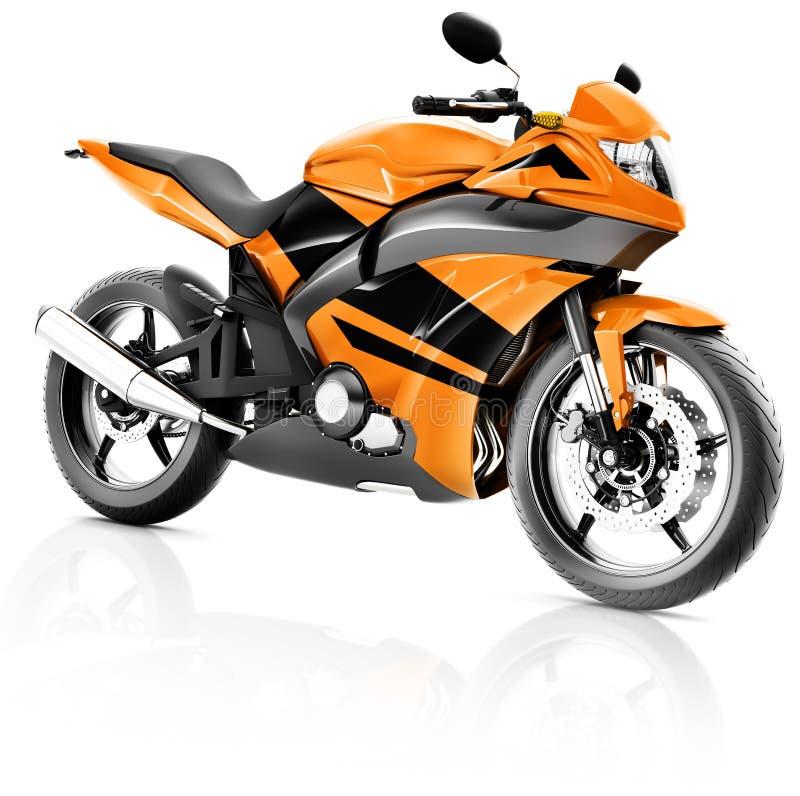 Οδηγώντας αναβάτης σύγχρονο πορτοκαλί Conce ποδηλάτων μοτοσικλετών μοτοσικλετών ελεύθερη απεικόνιση δικαιώματος
