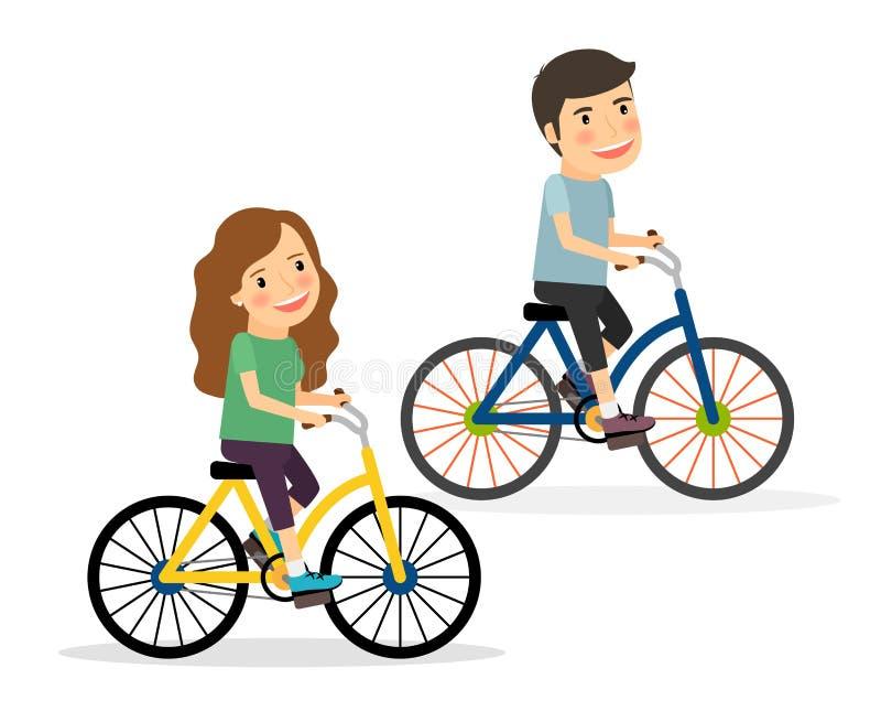 Οδηγώντας ποδήλατα ζεύγους διανυσματική απεικόνιση