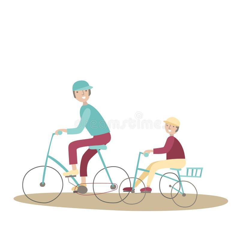 Οδηγώντας ποδήλατα μπαμπάδων και γιων Αθλητισμός οικογενειακών ποδηλάτων και σωματική δραστηριότητα με τα παιδιά, κοινή ενεργός α διανυσματική απεικόνιση