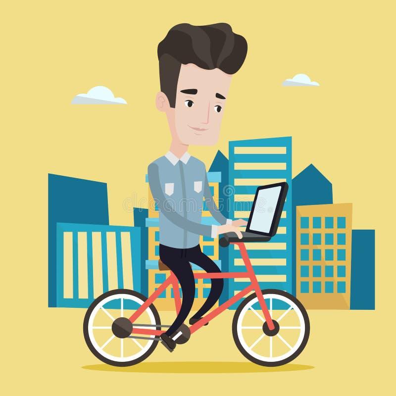 Οδηγώντας ποδήλατο ατόμων στη διανυσματική απεικόνιση πόλεων διανυσματική απεικόνιση