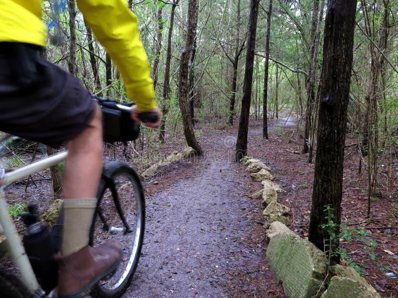 Οδηγώντας ποδήλατο βουνών τύπων στο υγρό ίχνος στοκ φωτογραφία
