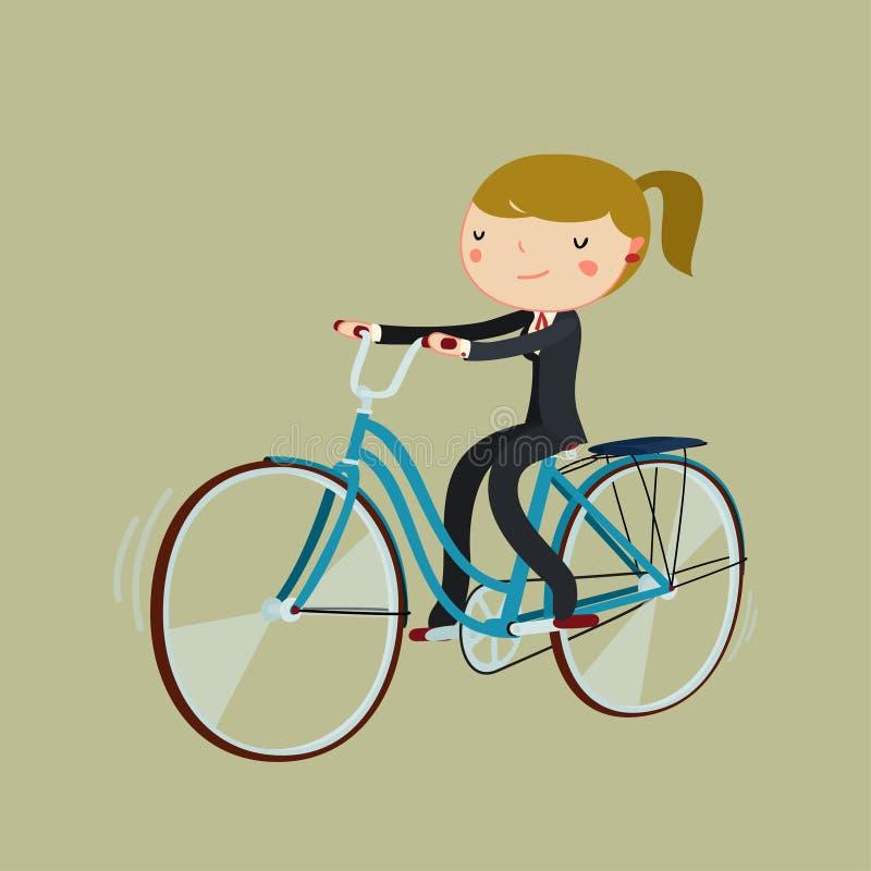 Οδηγώντας ποδήλατο γυναικών κινούμενων σχεδίων εργαζομένων γραφείων ποδήλατο για να εργαστ&epsil διανυσματική απεικόνιση