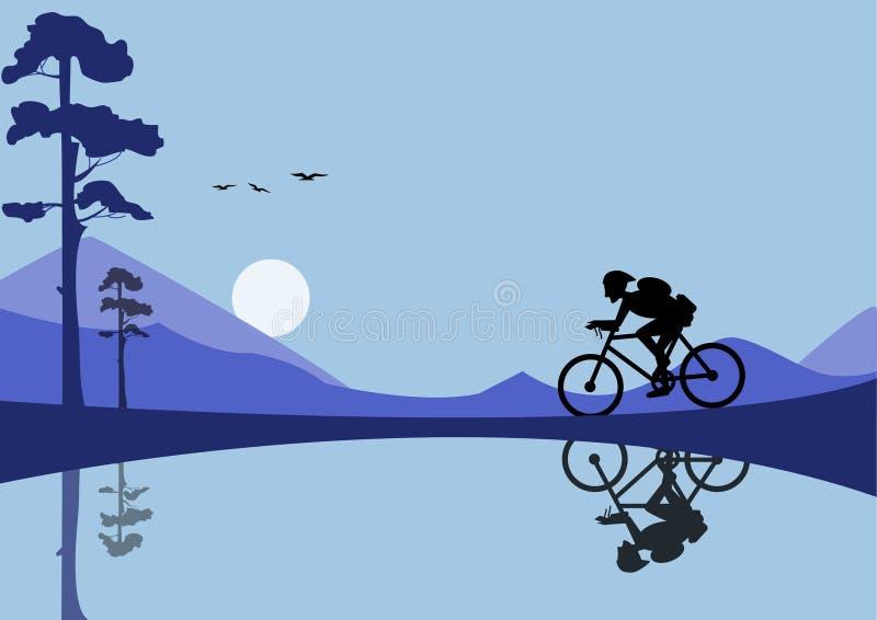 Download Οδηγώντας ποδήλατο νεαρών άνδρων στα υπόβαθρα φύσης Απεικόνιση αποθεμάτων - εικονογραφία από άσκηση, μεγαλόσχημων: 62715630