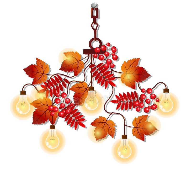 Ο ηλεκτρικός πολυέλαιος με το περίκομψο πλαίσιο του δέντρου διακλαδίζεται με τα φύλλα και τα μούρα σορβιών φθινοπώρου Στοιχείο το διανυσματική απεικόνιση