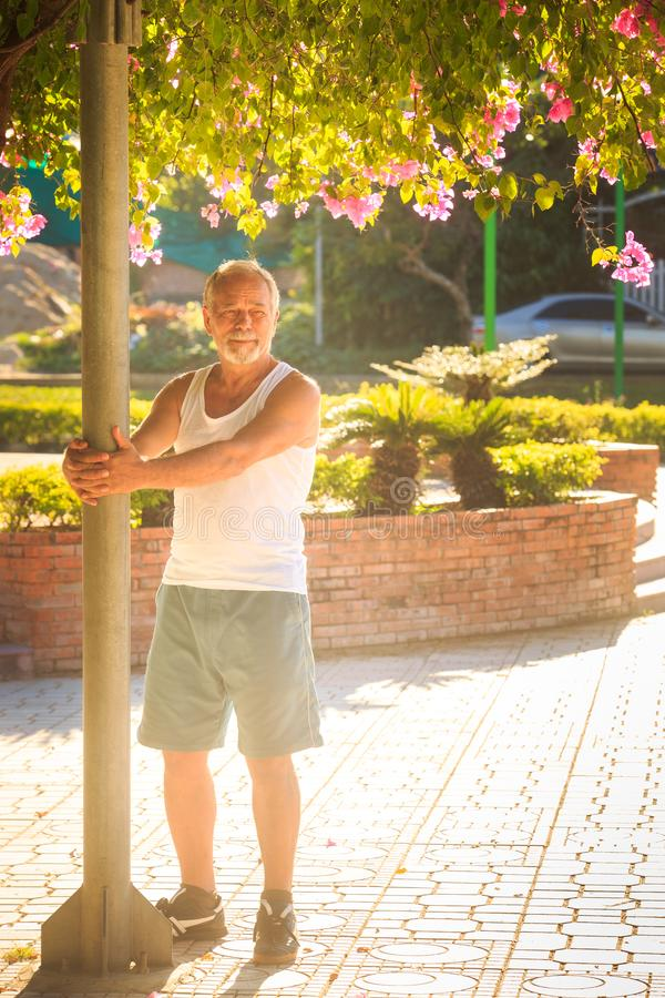 Ο ηληκιωμένος κάνει τα αγκαλιάσματα Πολωνός ασκήσεων πρωινού στο πάρκο στοκ φωτογραφία με δικαίωμα ελεύθερης χρήσης
