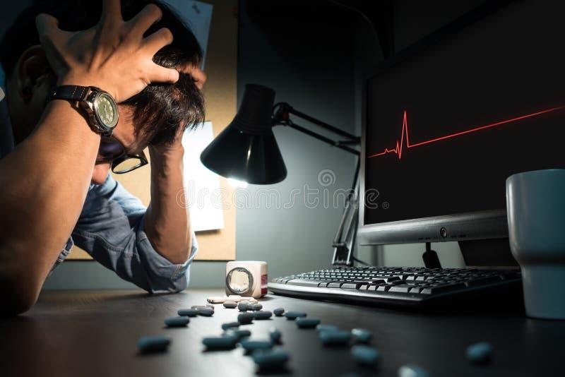 Ο δημιουργικός συντάκτης είναι άρρωστος και έχοντας τον πονοκέφαλο στοκ εικόνες