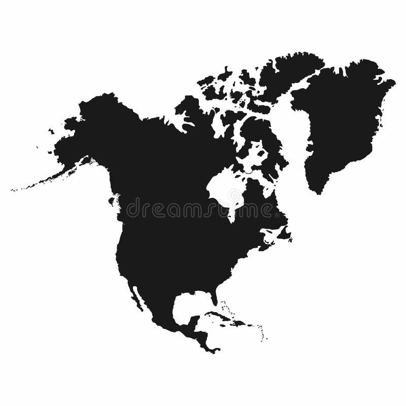 ο ηπειρωτικός Βορράς χαρτών της Αμερικής πολιτικός Μονοχρωματικό εικονίδιο της Βόρειας Αμερικής απεικόνιση αποθεμάτων