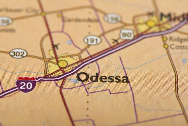 Οδησσός, Τέξας στο χάρτη στοκ εικόνες
