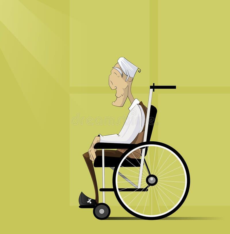Ο ηληκιωμένος, πρεσβύτερος με την γκρίζα τρίχα κάθεται στην αναπηρική καρέκλα απεικόνιση αποθεμάτων
