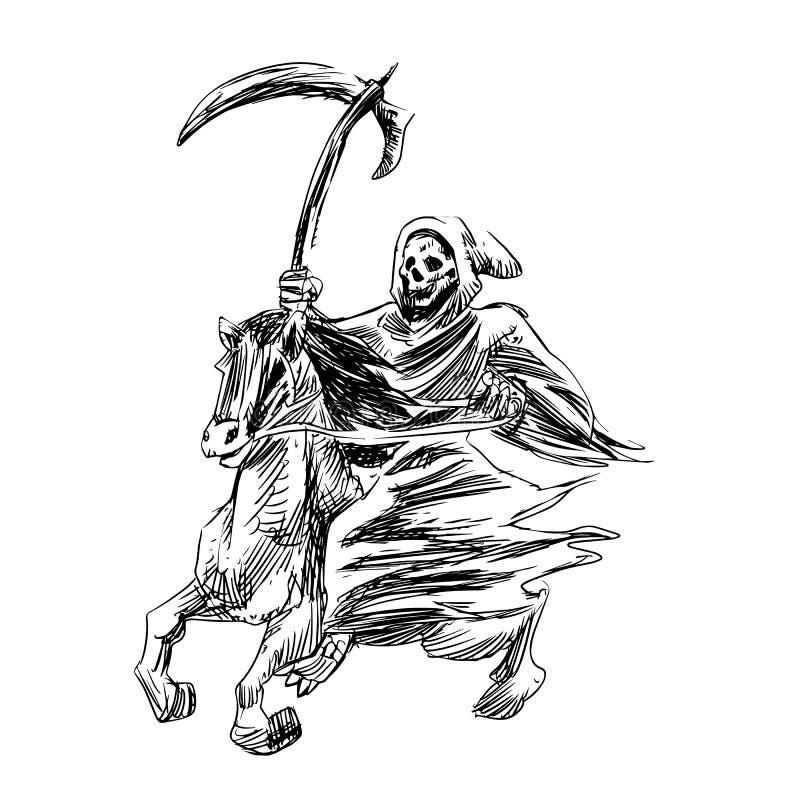 Ο θάνατος με ένα δρεπάνι οδηγά ένα άλογο - δώστε τη συρμένη χάραξη ελεύθερη απεικόνιση δικαιώματος
