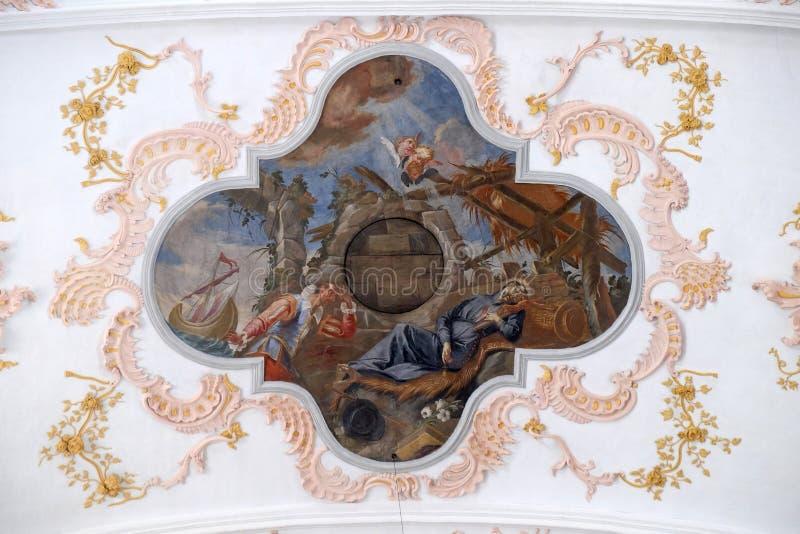 Ο θάνατος του ST Francis, νωπογραφία στο ανώτατο όριο της εκκλησίας Jesuit του ST Francis Xavier σε Λουκέρνη στοκ φωτογραφίες