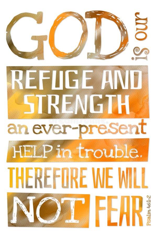 Ο Θεός είναι ο ψαλμός μας 46:12 καταφυγίων και δύναμης - αφίσα με την αναφορά κειμένων Βίβλων διανυσματική απεικόνιση