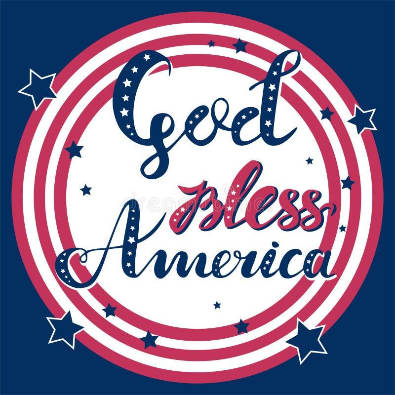 Ο Θεός ευλογεί τη συρμένη κόκκινη και μπλε χέρι διανυσματική εγγραφή της Αμερικής με τα αστέρια στο ριγωτό κύκλο για τις αφίσες,  διανυσματική απεικόνιση