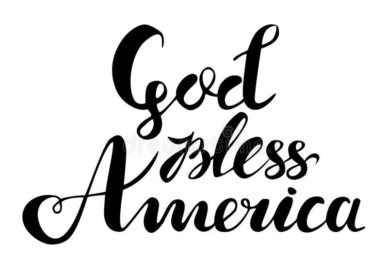 Ο Θεός ευλογεί τη συρμένη χέρι διανυσματική εγγραφή της Αμερικής για τις αφίσες, τις ευχετήριες κάρτες και τα εμβλήματα Ιστού Κατ ελεύθερη απεικόνιση δικαιώματος