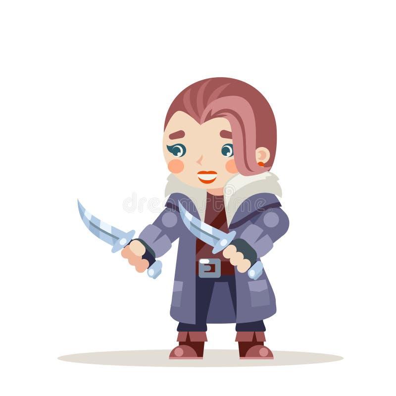 Ο θηλυκός απατεώνων γυναικών εκτός νόμου κοριτσιών δολοφόνων κλεφτών διαρρηκτών χαρακτήρας παιχνιδιών δράσης RPG φαντασίας μεσαιω διανυσματική απεικόνιση