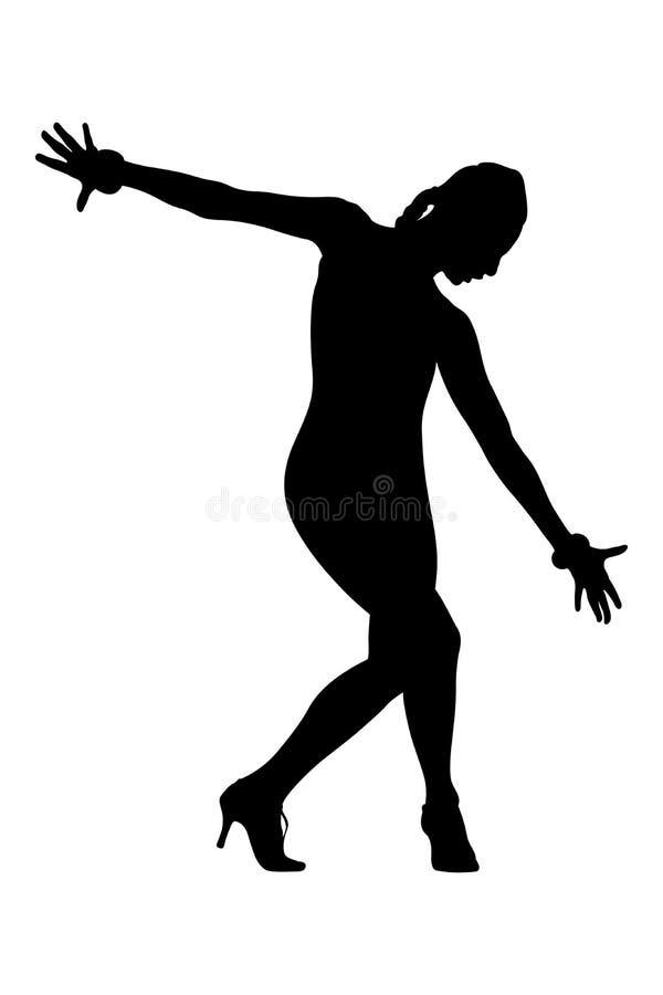 Ο θηλυκός χορευτής στο χορό θέτει διανυσματική απεικόνιση
