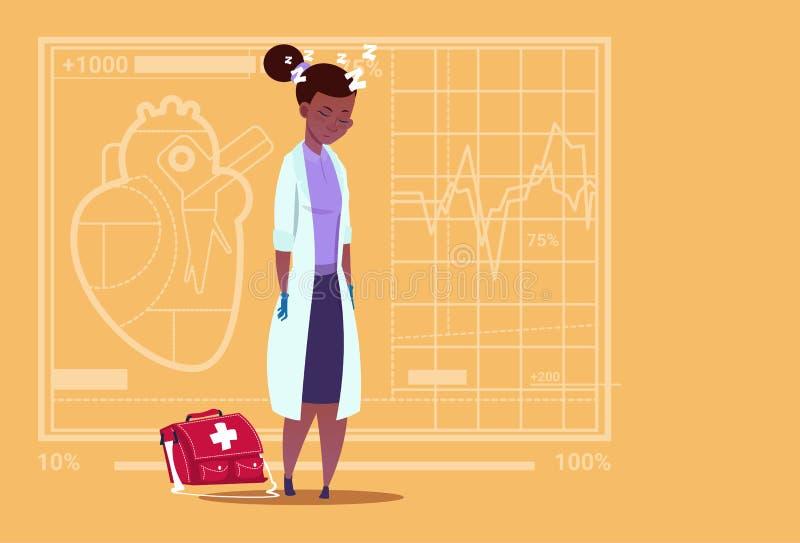 Ο θηλυκός γιατρός αφροαμερικάνων κούρασε το κοιμισμένο ιατρικό νοσοκομείο εργαζομένων κλινικών απεικόνιση αποθεμάτων