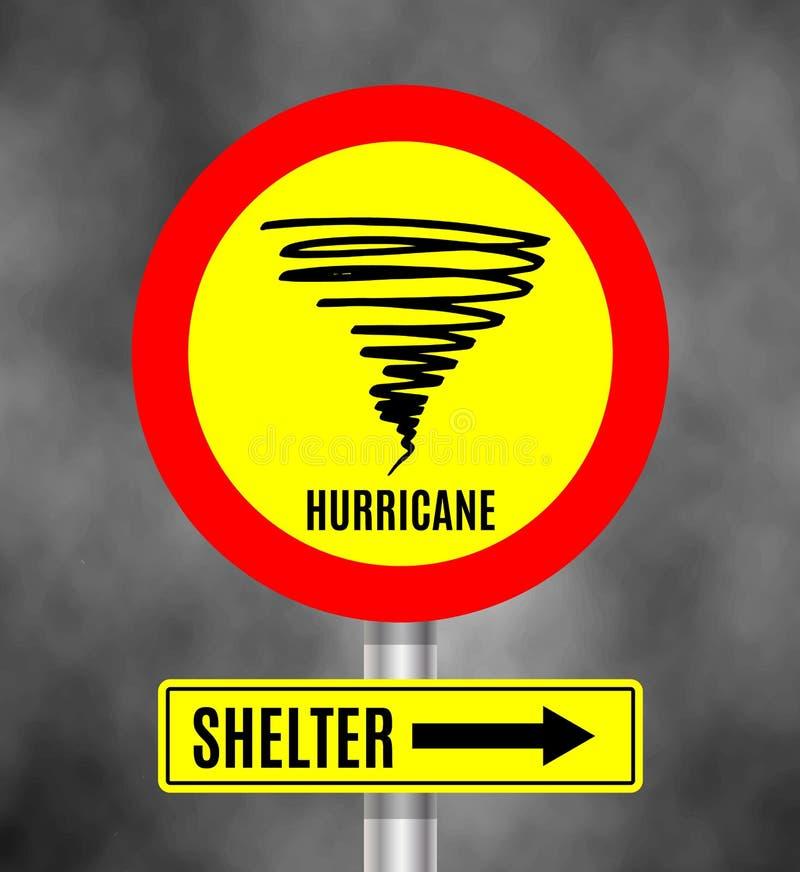 Ο θυελλώδης καιρός υπογράφει μπροστά τον πίνακα, ένδειξη τυφώνα Γραφικό έμβλημα του τυφώνα διανυσματική απεικόνιση