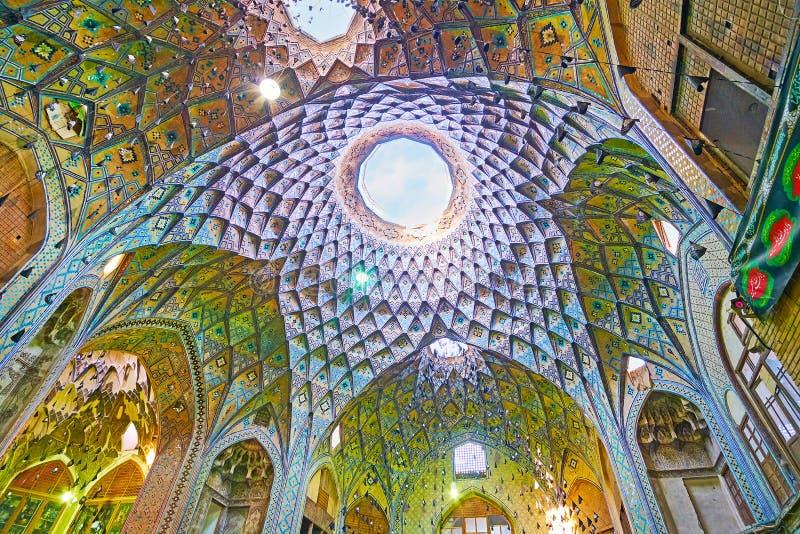 Ο θόλος της αίθουσας του timche-YE Amin OD-Dowleh Kashan μεγάλο Bazaar στοκ εικόνες