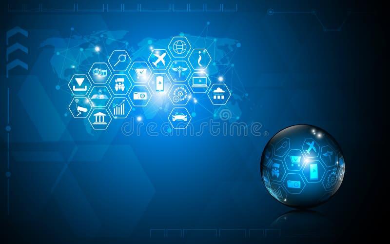 Ο διανυσματικός αφηρημένος υπολογιστής επιστήμης τεχνολογίας υποβάθρου καινοτομεί έννοια διανυσματική απεικόνιση
