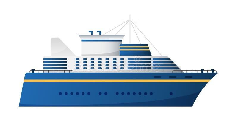 Ο διανυσματικός θαλάσσιος δρόμος και το ωκεάνιο νερό μεταφέρουν καθιερώνον τη μόδα επίπεδο σχέδιο σκαφών της γραμμής κρουαζιέρας  ελεύθερη απεικόνιση δικαιώματος