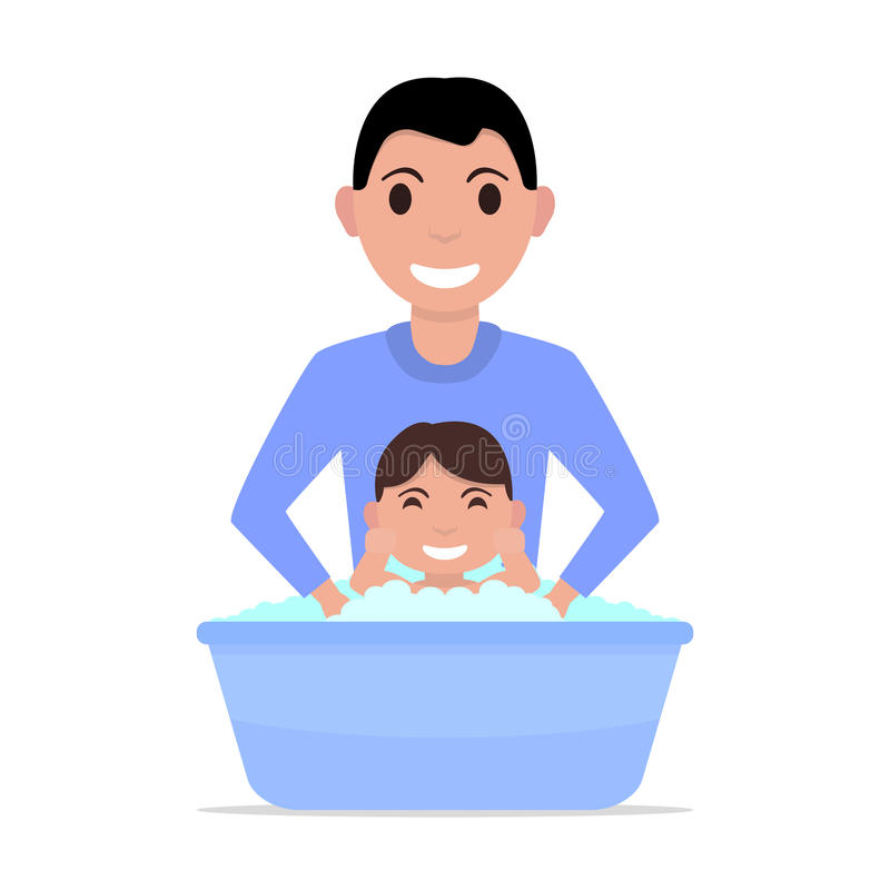 Ο διανυσματικός πατέρας κινούμενων σχεδίων απεικόνισης λούζει ένα μωρό απεικόνιση αποθεμάτων
