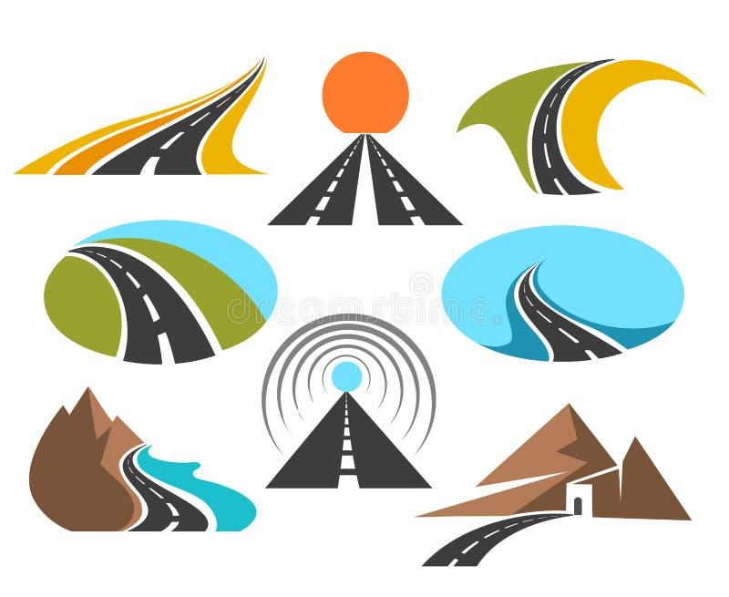 Ο διανυσματικός δρόμος χρωμάτισε τα εμβλήματα που απομονώθηκαν στο άσπρο υπόβαθρο για το σχέδιο λογότυπων Σύμβολα εθνικών οδών ή  απεικόνιση αποθεμάτων