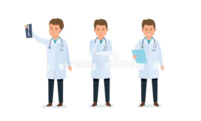 Ο ιατρικός εργαζόμενος, γιατρός, που εξοικειώθηκε με τα αποτελέσματα, εξέτασε τα έγγραφα, αναγγελθε'ντα αποτελέσματα ελεύθερη απεικόνιση δικαιώματος