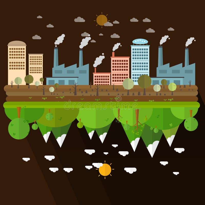 Ο διαφορετικός περιβαλλοντικά του εργοστασίου και του δάσους τοπίων διανυσματική απεικόνιση
