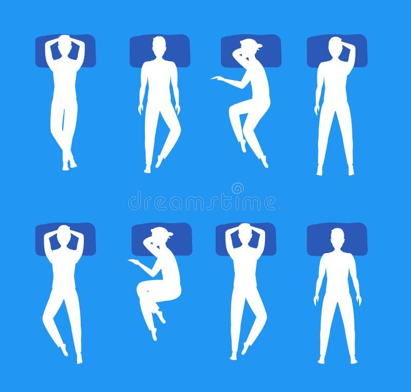 Ο διαφορετικός ύπνος θέτει την καθορισμένη άσπρη σκιαγραφία διάνυσμα διανυσματική απεικόνιση