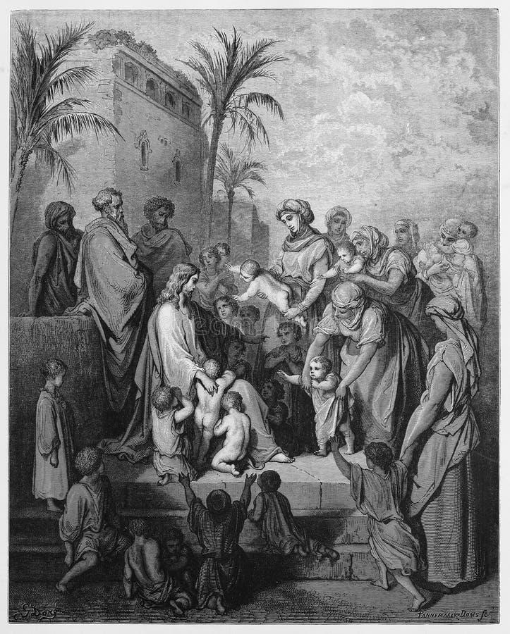Ο Ιησούς ευλογεί τα μικρά παιδιά στοκ φωτογραφία με δικαίωμα ελεύθερης χρήσης