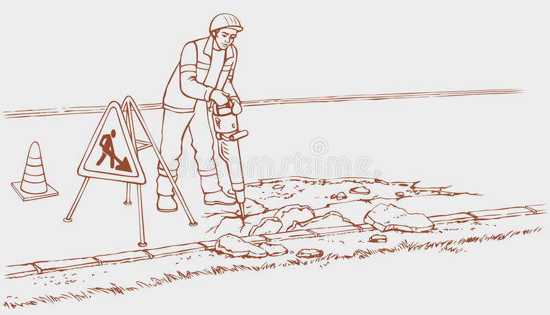 Οδικά έργα. Εργάτης οικοδομών με το κομπρεσέρ διανυσματική απεικόνιση