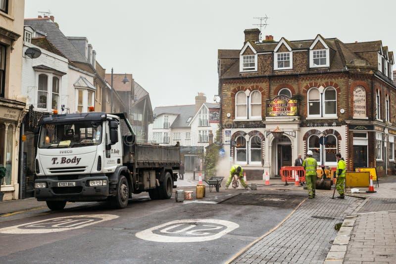 Οδικές επισκευές σε Whitstable στοκ φωτογραφία