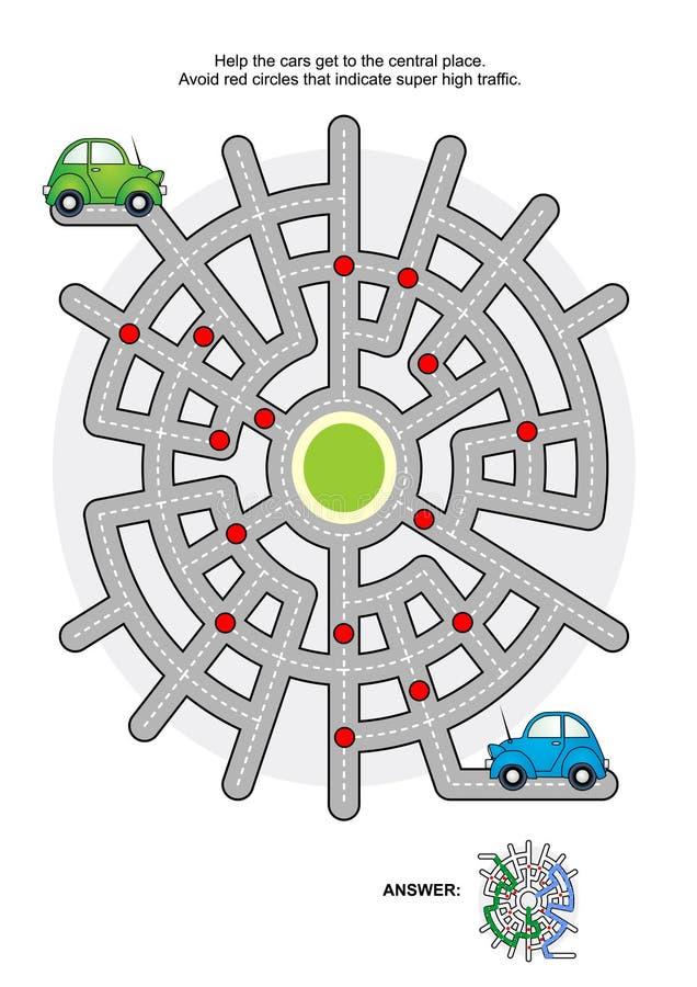 Οδικός λαβύρινθος με τα πράσινα και μπλε αυτοκίνητα διανυσματική απεικόνιση