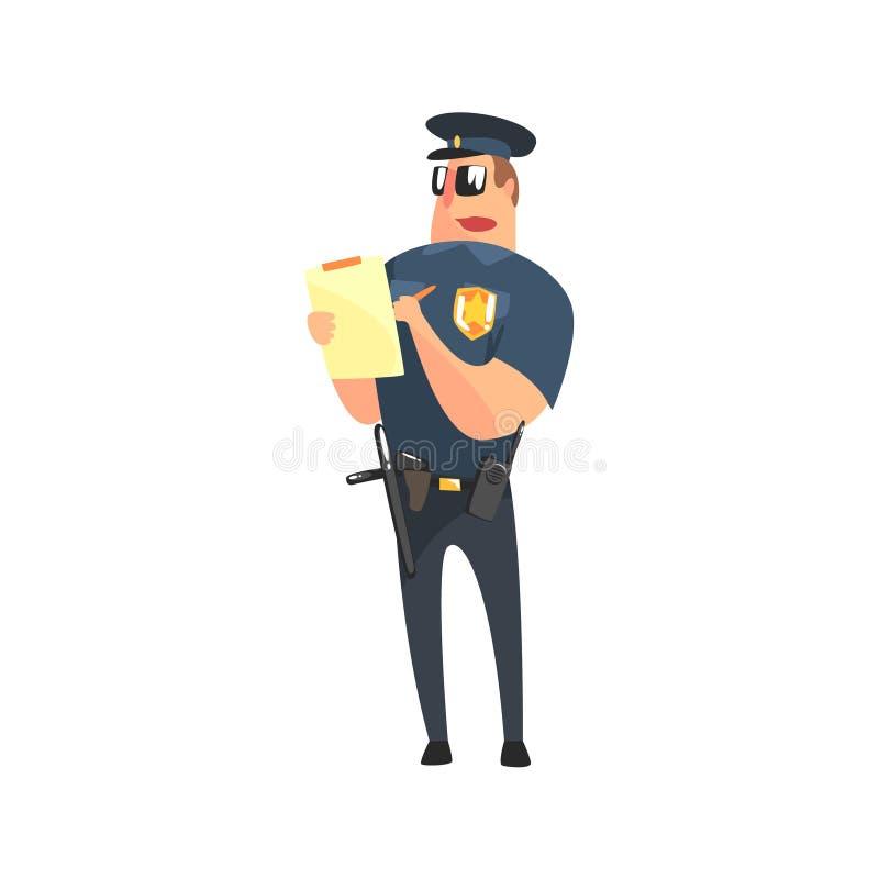 Οδικός αστυνομικός στην αμερικανική σπόλα ομοιόμορφη με το ρόπαλο, το ραδιόφωνο, την πιστολιοθήκη πυροβόλων όπλων και τα γυαλιά η ελεύθερη απεικόνιση δικαιώματος