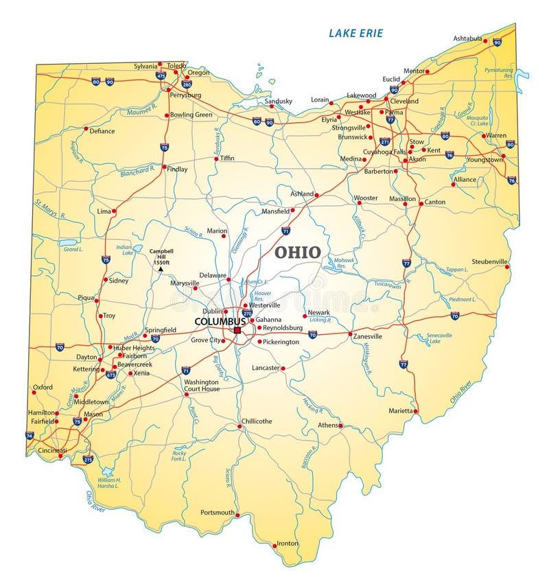Οδικός χάρτης Οχάιο διανυσματική απεικόνιση