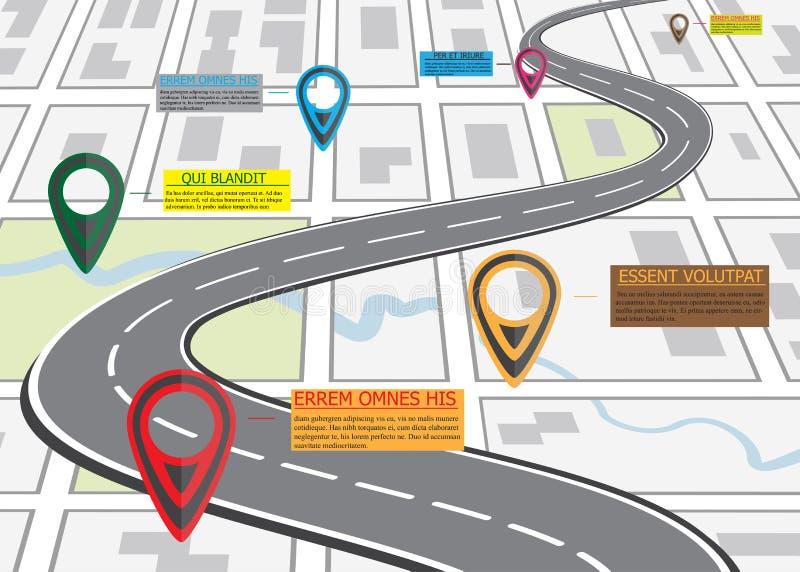 Οδικός χάρτης οδών, επιχειρησιακό infographics με το ζωηρόχρωμο δείκτη καρφιτσών διανυσματική απεικόνιση
