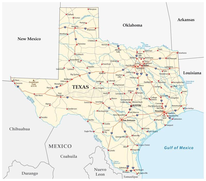 Οδικός χάρτης του Τέξας ελεύθερη απεικόνιση δικαιώματος