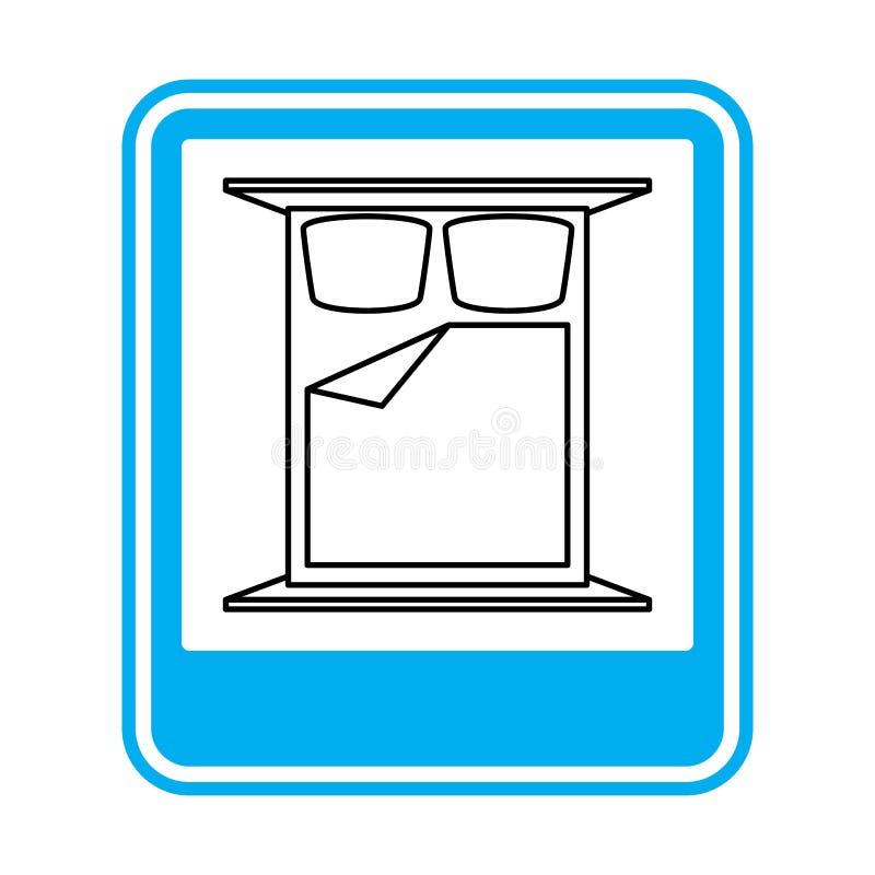Οδικό σημάδι κρεβατιών ολονυκτίς Σύμβολο ξενοδοχείων Μπλε ορθογώνιο διανυσματική απεικόνιση