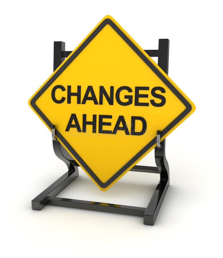 Οδικό σημάδι που γράφει στις αλλαγές μπροστά ελεύθερη απεικόνιση δικαιώματος