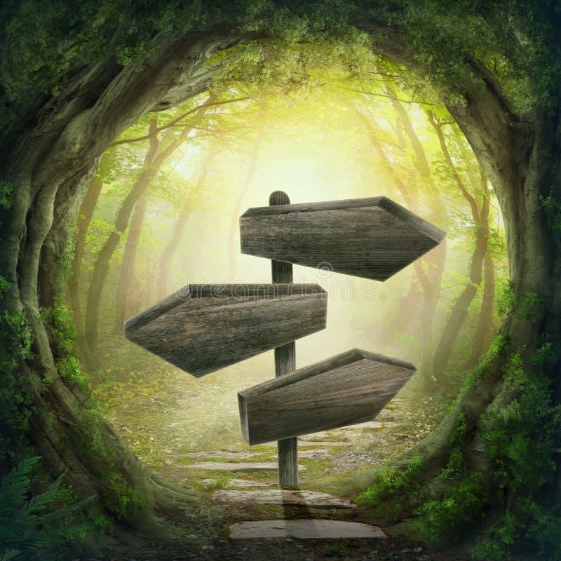 Οδικό σημάδι στο σκοτεινό δάσος στοκ φωτογραφία με δικαίωμα ελεύθερης χρήσης
