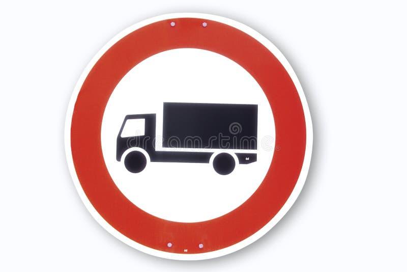 Οδικό σημάδι, φορτηγό μηχανών, κινηματογράφηση σε πρώτο πλάνο στοκ εικόνες