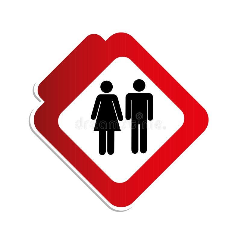 Οδικό σημάδι χρώματος σκιαγραφιών με τον άνδρα και τη γυναίκα εικονογραμμάτων ελεύθερη απεικόνιση δικαιώματος