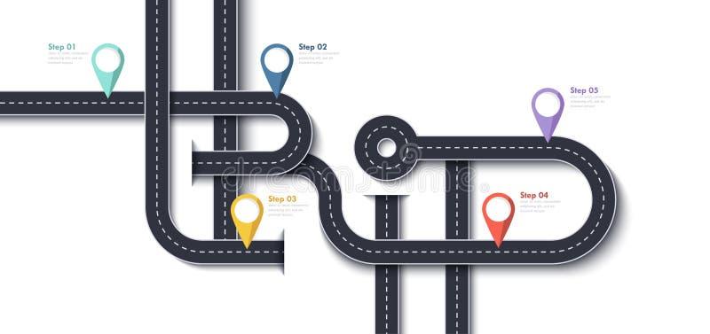 Οδικό ταξίδι και διαδρομή ταξιδιών Πρότυπο σχεδίου Infographic επιχειρήσεων και ταξιδιών με τους καρφίτσα-δείκτες και θέση για τα ελεύθερη απεικόνιση δικαιώματος