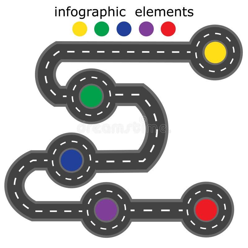 Οδικό infographics Δρόμος πέντε διαφορετικά σημεία που μαρκάρονται με με τα διαφορετικά χρώματα απεικόνιση απεικόνιση αποθεμάτων