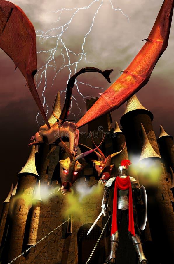 Ο ιππότης, ο δράκος και το κάστρο διανυσματική απεικόνιση