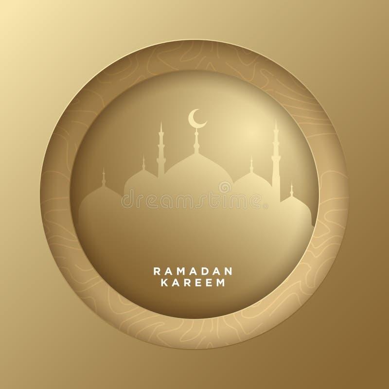 Ο ισλαμικός κύκλος για το ramadan υπόβαθρο εμβλημάτων χαιρετισμού kareem διανυσματικό με το έγγραφο τέχνης έκοψε το ύφος, το λαμπ ελεύθερη απεικόνιση δικαιώματος
