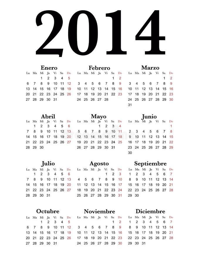 Ο ισπανικός ημερολογιακός 2014 απλός Μαύρος στοκ εικόνες με δικαίωμα ελεύθερης χρήσης