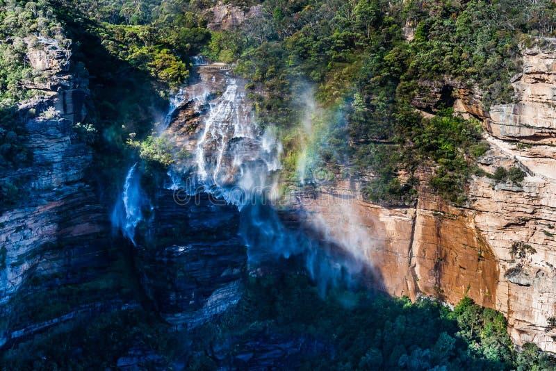 Ο ισχυρός άνεμος αποτρέπει τις πτώσεις Katoomba από να πέσει κάτω Μπλε εθνικό πάρκο βουνών, NSW, Αυστραλία στοκ φωτογραφία